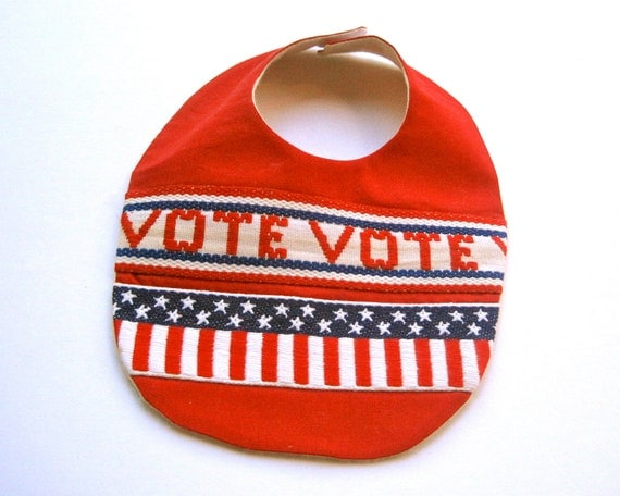 Time to VOTE - Organic Baby Bib - Teething and Food Bib in Red with Antique American Trim - Eco Friendly Kids (Ready to Ship)
