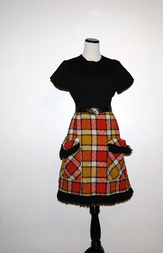 Vintage Dress Black with Plaid