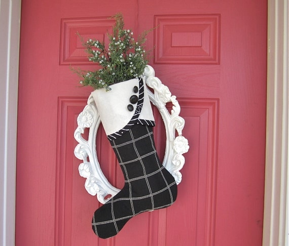 No. 2 Christmas Stocking Black & White Graphic  - droopy toed style