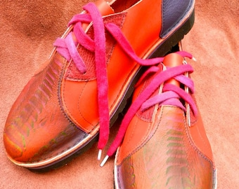 Leather Handmade Shoes, Lo Top. Cowhide, orange, Purple, green. Custom Made, Size women's size 9,wide toe box