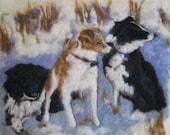 "11 x 17"" Custom Needle Felted Pet Group Portrait to Frame"