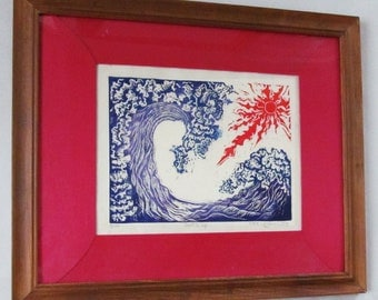 Surf's Up,  Limited edition, color  linoleum block print, hand printed and pencil signed by artist, framed in antique satin and Thai teak.