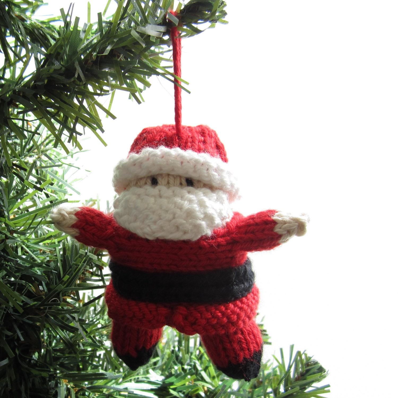 Santa Christmas Ornament. Knitted Tree Decor.