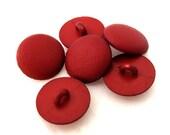 DESTASH -- Set of 9 Textured Round Dark Red Plastic Shank Buttons