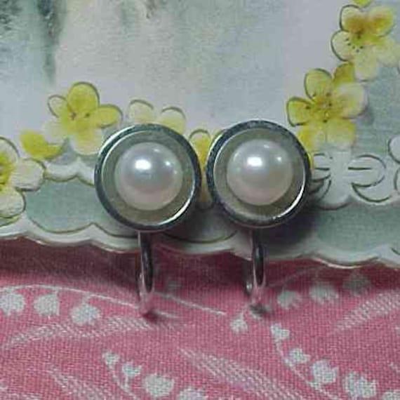 Vintage Sterling Silver Faux Pearl Screwback Earrings