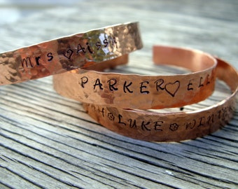 Custom Hand stamped cuff bracelet 3/8 inch copper ONE bracelet hand stamped jewelry custom name quote gift for her Christmas