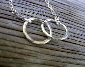 Love links- fine silver linked circle pendant necklace on sterling silver chain