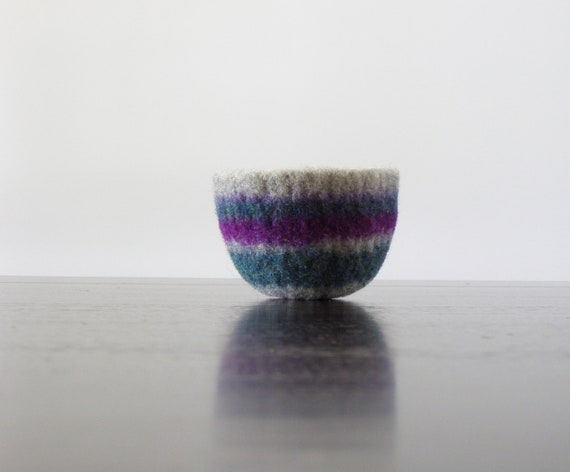 felted wool striped bowl - colorful wool bowl with stripes of grey, jade green and purple - office organization, desk container, striped
