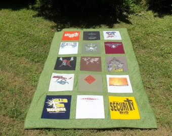 Tshirt Memory Quilt Twin SIze made with your own T shirts