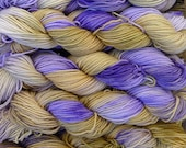 Pure wool sock yarn, sport weight --- hand dyed lavender and lime