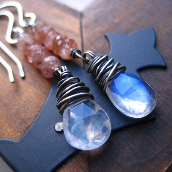 Wire Wrapped Earrings Sunstone Moonstone Gemstone Sterling Silver Earrings