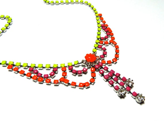 Neon Hand Painted Rhinestone Necklace - Yellow, Pink, Orange, Color, Summer, Tom Binns