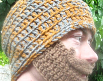 Grey and Orange Hat with Tan Bearded Beanie - Ships Free