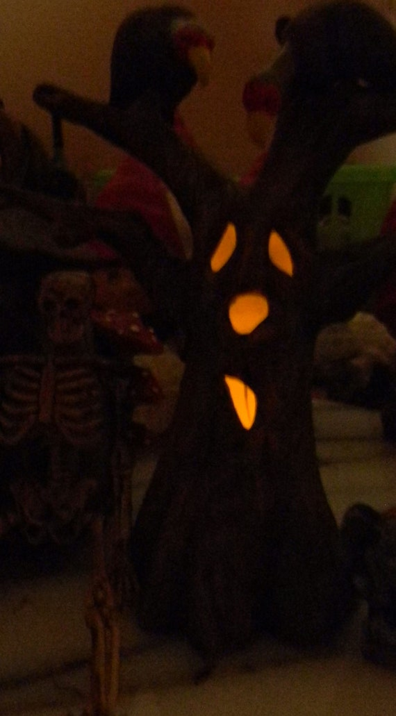 Spooky Tree miniature  with Faces Halloween decor for your fairy garden ....can be lighted Vulture Buzzard Included