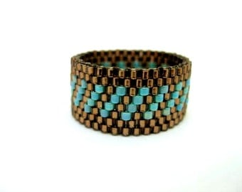 Peyote Ring / Beaded Ring in Brown and Turquoise /  Seed Bead Ring / Size 8 / Beadwoven Ring / Delica Ring / Beadwork Ring / Striped Ring