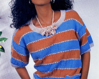 Vintage 80s Knitting Pattern for Top