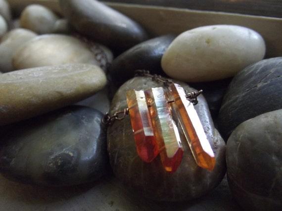 Orange quartz  icicles pendant