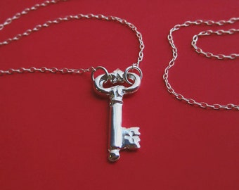 Long Sterling Silver Key Necklace