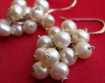 Sterling Silver and White Freshwater Pearl Grape Bunch Earrings
