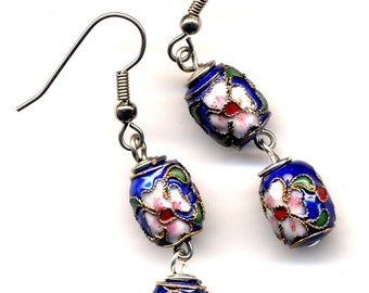 Floral Cloisonne Earrings SALE New Winter  Collection, Blue Earrings, Floral Earrings, Handmade Jewelry by AnnaArt72