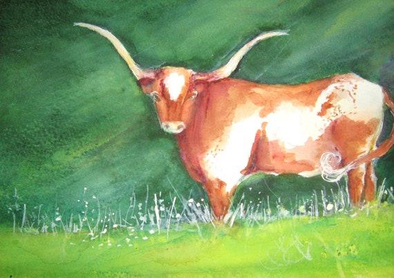 Longhorn Steer Original Watercolor Painting Orange, White  Deep Green Background Texas Artist