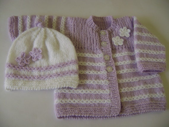 Knitted Baby  Sweater and Hat   Set Newborn to 3 months