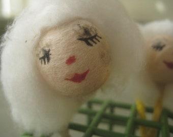 Vintage Spun Cotton Heads, Spun Cotton Ladies, Doll Faces, White Hair, Spun Cotton Women, Vintage Crafting, Craft Supply, Female Heads