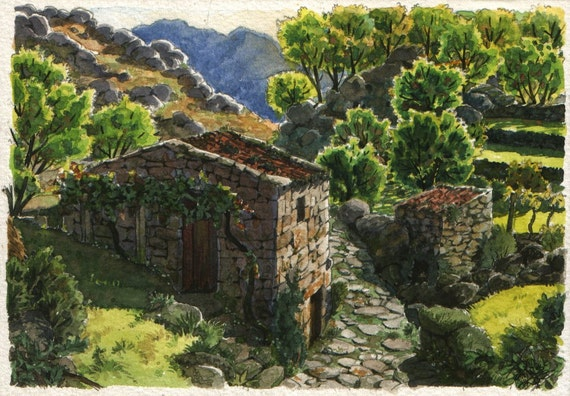 A mountain trail - Original art, small 7x5 landscape watercolor painting inspired in Portugal