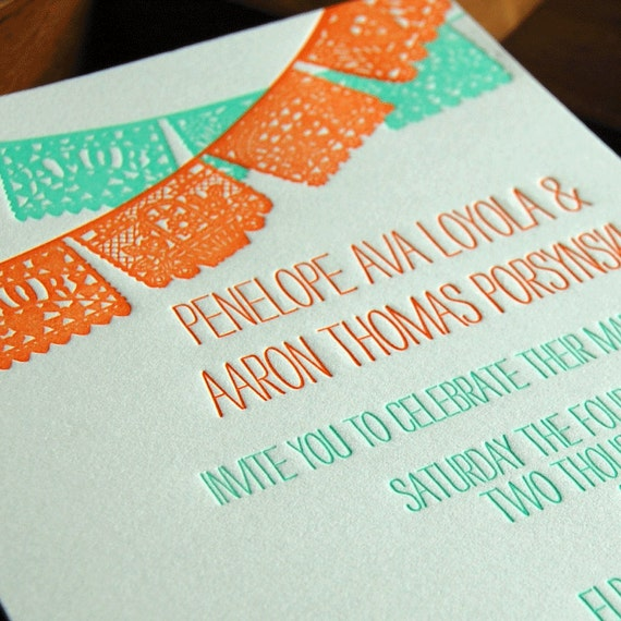 items similar to papel picado - wedding invitation sample on etsy,