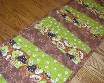 SALE!  QuiltedTable Runner in Green and Browns  12 x 41 inches
