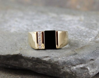 Men's Black Onyx and Diamond Ring - 10K Yellow Gold  - Circa 1990 - Estate Jewellery from A Second Time