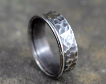Rustic Sterling Silver Band - Men's Jewellery - Wedding Band - Textured Wedding Band - Silver Bands