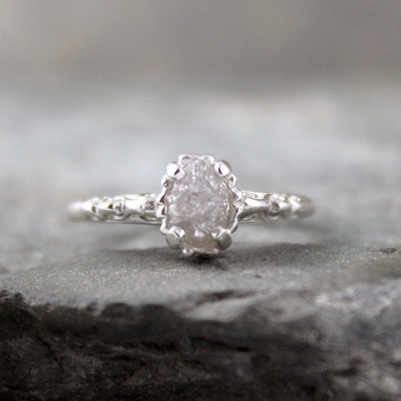 Raw Uncut Rough Diamond Solitaire and 925 Sterling Silver Filigree Ring -  Antique Styled Engagement Ring