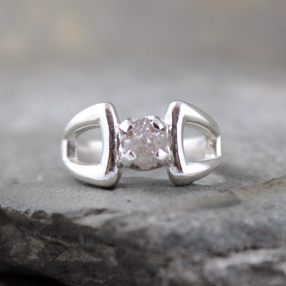 Uncut Raw Rough Diamond Ring - Sterling Silver Solitaire - April Birthstone - Engagement Ring - Birthstone Ring