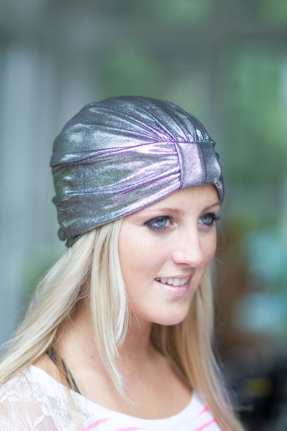 Hair Turban in Silver and Black Metallic - Women's Fashion Head Wrap - Sparkly Turbans
