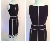 Vintage Black & White Dress. Mod. Classic Little Black Dress Style. Floral Pattern. Size 2 Petite. Small. Linear. 1990s. Anne Klein.