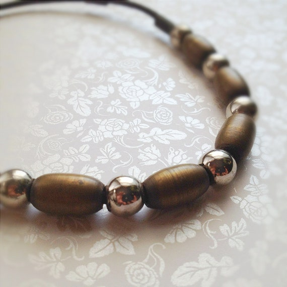 Vintage Rustic Necklace and Bracelet Set. Leather Cording. Metal Beads. Brown. Fall. Antique Gold Tone. Silver. Southwestern. 1980s.