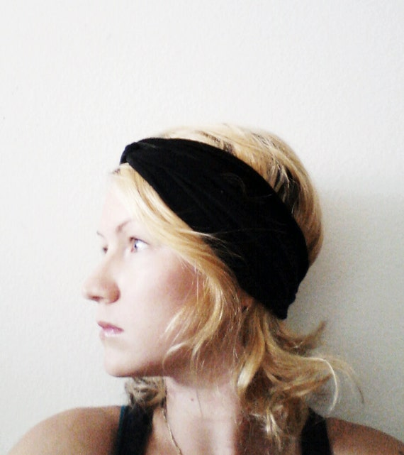 Twist Turban Headband, Solid Black, Turban Headband, Yoga headband
