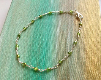 Metallic Lime Green Czech Crystal Wire Wrapped Chain Link Anklet - Ankle Bracelet