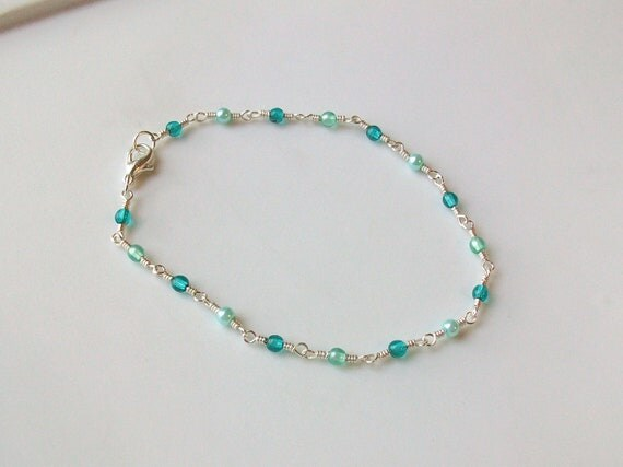 Ocean Blue Glass Bead Wire Wrapped Chain Link Anklet - Ankle Bracelet