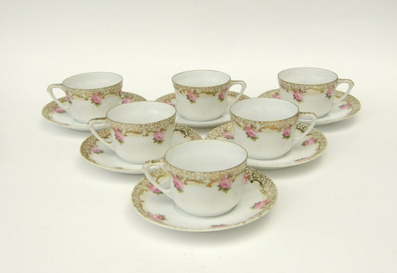 Shabby Art Nouveau 15 Pc Coffee Set /Tea Set: German Eggshell Porcelain, Pink Roses, 18k Gold, Demitasse