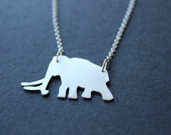 Woolly Mammoth Necklace. Sterling silver. Handmade. Contemporary design.