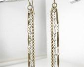 SALE Boho Dangle Earrings, Gemstone Rosary Chain, Pyrite, Silver, Brass Vintage Style, Minimalist Rustic Fashion
