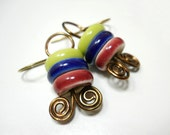 SALE Ceramic and Brass Earrings, Elaine Ray Ceramic Washers and Coiled Antiqued Brass, Rustic Earrings, Modern Fashion