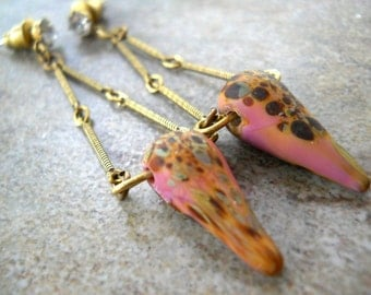 Beaded Spike Earrings, Lampwork Pink Lilac Deco Spikes, Antiqued Brass Bar Chain, Boho Rustic Fashion, Teardrop, Crystal Jewelry
