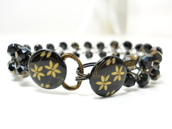 Beaded Wire Bracelet, Metallic Luster Glass Faceted Beads, Black Gold Button Braided Bracelet, Boho Jewelry Floral Fashion