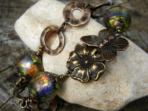 Bronze and Handmade Basha Glass Lampwork Beaded Bracelet OOAK