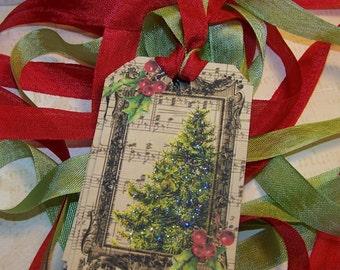 Christmas Tags Christmas Tree Tags Vintage Style Set of 6 or 9