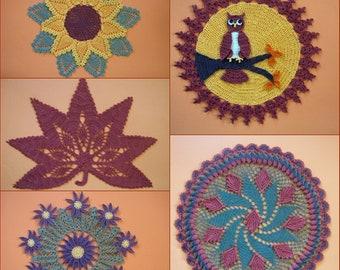 PDF Crochet Pattern- Autumn Lace Doilies (5 different designs)