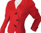 RESERVED. Blazer Red 80s Triangle Button Vintage Asymmetrical Jacket